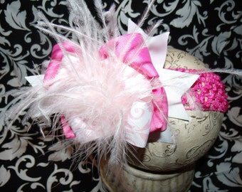 Over The Top Boutique Hairbow..Pink Chic Baby Spikey Layered Boutique Bow and Headband..Great for Newborn Toddler big Girl