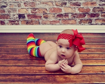 Spikey Boutique Hairbow..Red Spikey Layered Double Bow and Headband..Great for Newborn Toddler big Girl