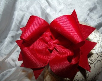Hairbow..Cranberry Double Layered Spikey Hair Bow with headband..Newborn Toddler Big Girl