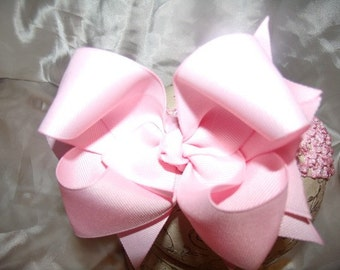 Hairbow..Pink Double Layered Spikey Hair Bow with Headband..Great for Newborn Toddler Big Girl