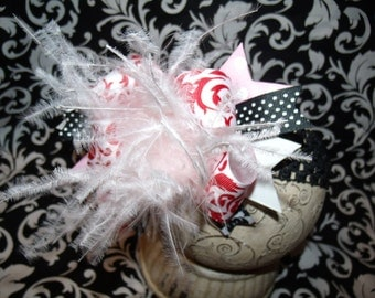 Over The Top Boutique Hairbow..Damask Spikey Layered Boutique Bow and Headband..Great for Newborn Toddler big Girl