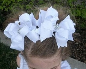 Spikey Boutique Hairbow..You Pick Color Spikey Layered Double Bows..Great for Newborn Toddler big Girl