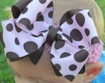 Pink and Brown Polka Dot Double Layered Boutique Hairbow with Headband..Newborn Toddler Girl