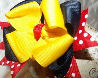 Hair Bow Minnie Mouse Inspired Bow with Interchangeable Headband..newborn toddler big girl