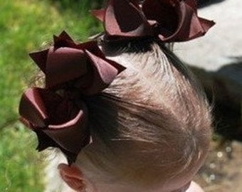 Brown Spikey Hair Bows..Princess Piggy Sets..Double layered Bow Set..Great for Piggies and Twins