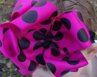Double Layered Hairbow Hot Pink and Black Dot Boutique Bow and Interchangeable Headband