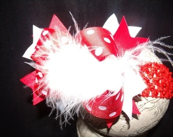Over The Top Boutique Hairbow..Roses are Red Spikey Layered Boutique Bow and Headband..Great for Newborn Toddler big Girl