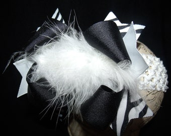 Over The Top Boutique Hairbow..Zebra Poof Spikey Layered Boutique Bow and Headband..Great for Newborn Toddler big Girl