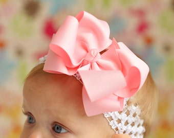 Double Layered Pink Boutique Hairbow and Interchangeable Headband Great for Infant Toddler and Big Girl Wear