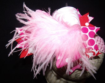 Over The Top Boutique Hairbow..Valentine Princess Spikey Layered Boutique Bow and Headband..Great for Newborn Toddler big Girl