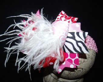 Over The Top Boutique Hairbow..Valentine Diva Spikey Layered Boutique Bow and Headband..Great for Newborn Toddler big Girl