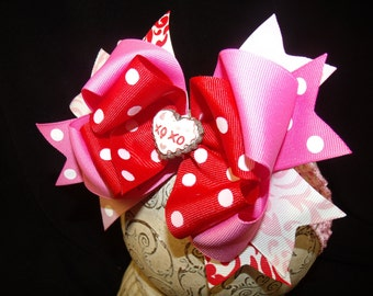 Valentine Hairbow..Triple Layered Spikey Layered Boutique Bow and Headband..Great for Newborn Toddler big Girl