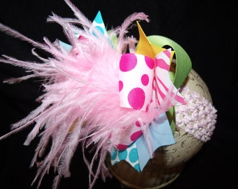 Over The Top Boutique Hairbow..Pretty Girl Spikey Layered Boutique Bow and Headband..Great for Newborn Toddler big Girl