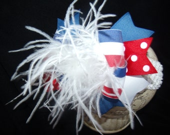Hairbow Over the Top..4th of July Spikey Layered Boutique Bow and Headband..Great for Newborn Toddler big Girl