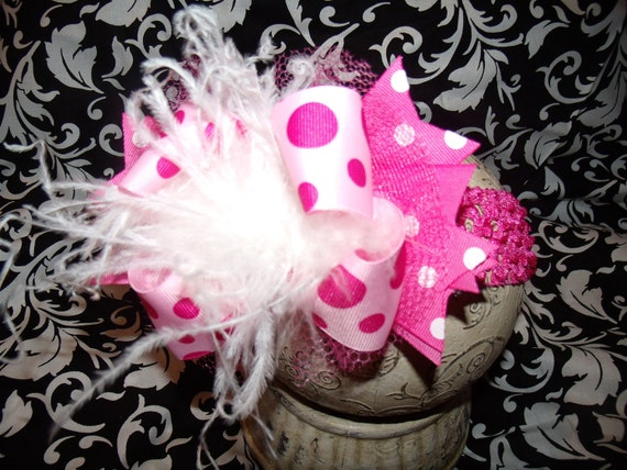 Over The Top Boutique Hairbow..Pretty in Pink Spikey Layered Boutique Bow and Headband Newborn Toddler Girl