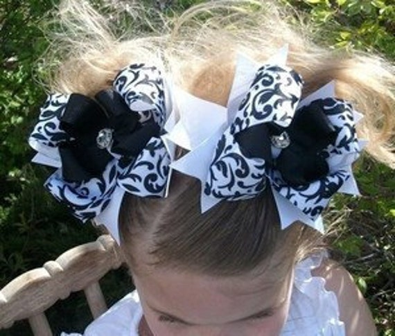 Spikey Boutique Hairbow..Big Ole Princess Scroll Spikey Layered Double Bows..Great for Newborn Toddler big Girl Twins Piggies