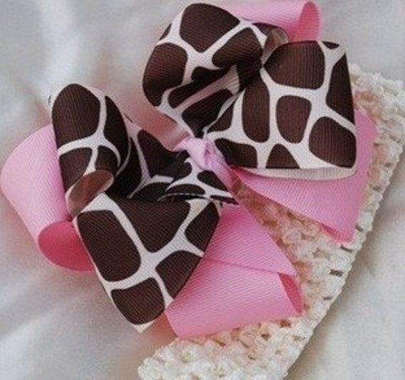 Pink Giraffe Double Layered Boutique Hair Bow with headband..great Hairbow for Newborn Toddler Big Girl