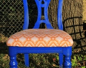 Dining Room Chair Upgrade- Blue, Pink and Orange