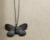 Black Butterflies - Oxidized Sterling Silver Chain Necklace