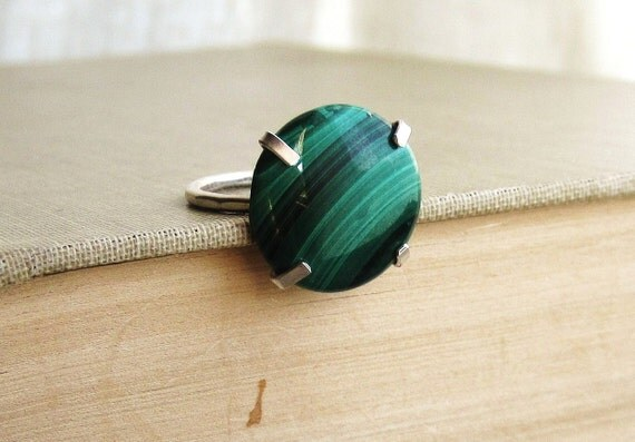 Malachite on Sterling Silver Ring - Size 6