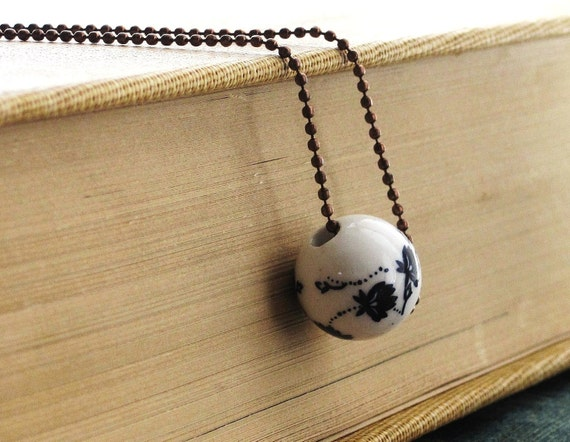 Floral Navy Porcelain Bead on Copper Ball Chain