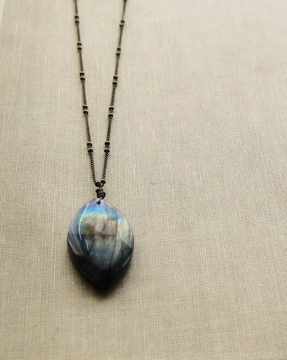 Labradorite Gemstone on Long Antique Brass Chain Necklace