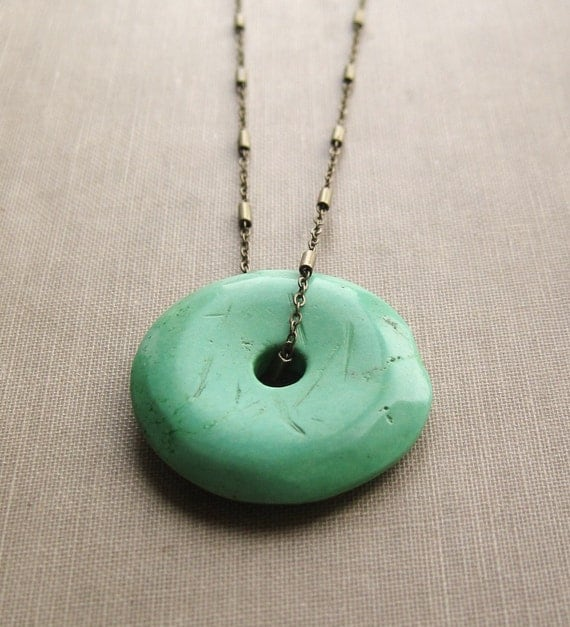 Apple Green Chalk Turquoise Donut on Antique Brass Chain - Long