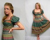 TWV Bohemian Collection - Green peasant dress