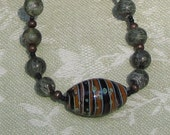 Zebra Jasper Necklace with Moraccan Focal Bead