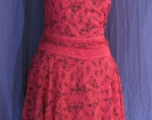 hand dyed pink and black summer pin-up whimsical dress with free flowing skirt