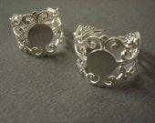 10PCS Ornate Filigree Ring Blank - 10mm Blank Pad - Silver Toned