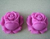 2PCS - Rose Flower Cabochons -  Resin - 26mm - Magenta - Cabochons by ZARDENIA