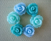 6PCS - Sea Breeze - Mixed Medley - Aqua, Turquoise and Blue - Mini Rose Flower Cabochons - 10mm - Resin - Cabochons by ZARDENIA
