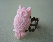 Pink Owl Ring - Antique Brass Adjustable Filigree Ring - Free US Shipping - Jewelry by ZARDENIA