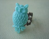 Turquoise Owl Ring - Antique Brass Adjustable Filigree Ring - Free US Shipping - Jewelry by ZARDENIA