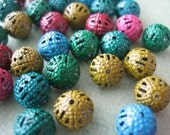 40PCS - Metal Sprayed Beads - Round - 6mm - Multi Color - Drilled Hole - Great for Necklaces and Bracelets - Beads by ZARDENIA