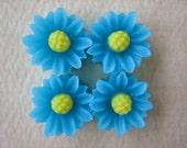 4PCS - Mini Daisy Flower Cabochons - Resin - 9mm - Blue - Cabochons by ZARDENIA