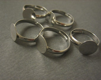 20PCS - Silver Toned Ring Blanks - Adjustable - 10mm Pad - Lead and Nickel Free - Jewelry Findings by ZARDENIA