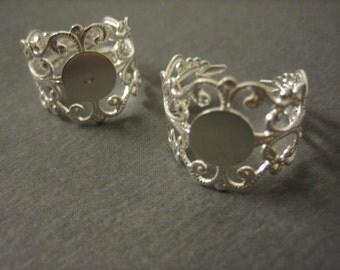 10PCS Ornate Filigree Ring Blank - 10mm Blank Pad - Silver Toned