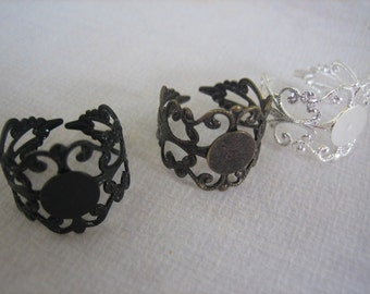 6 PCS Ornate Filigree Ring Blank - 10mm Blank Pad - Antique Brass, Black and Silver Toned