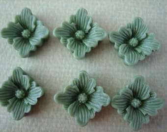 6PCS Olive Green Buttercup Resin Flower Cabochons - 12mm - Matte Finish