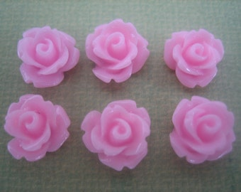 6PCS - Pink - Mini Rose Flower Cabochons - 10mm - Resin