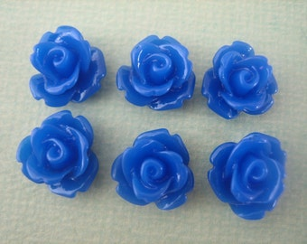 6PCS - Dark Blue Mini Rose Resin Flower Cabochons 10mm