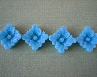 4PCS Spring Collection, 12mm Blue Buttercup Resin Flower Cabochons, Matte Finish, Jewelry Supplies by Zardenia