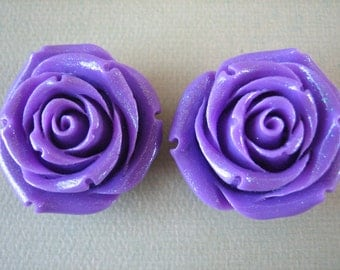 2PCS - 35mm Purple Glitter Rose Cabochon - Great for Rings, Necklaces and Bracelets - Cabochons by ZARDENIA - Limited Edition