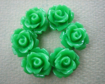 6PCS - Mini Rose Flower Cabochons - 10mm - Resin - Grass Green - Cabochons by ZARDENIA