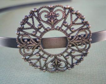 1PC - Antique Brass Headband - Round Filigree - Jewelry Findings by ZARDENIA