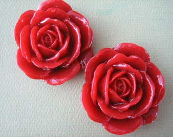 2PCS - Red - Rose Cabochons - 38mm Shiny Finish - Great for Rings and Necklaces - Cabochons by ZARDENIA