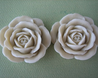 2PCS - Ivory Rose Cabochons - 38mm Matte Finish - Great for Rings and Necklaces - Cabochons by ZARDENIA