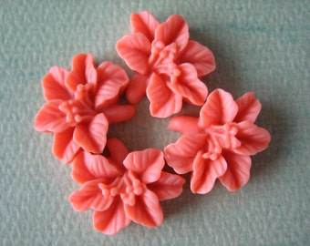 4PCS - Lily Flower Cabochons - Resin - 14x16mm - Coral - Cabochons by ZARDENIA